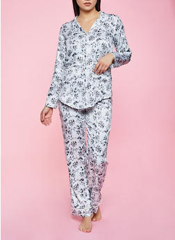 Floral Satin Pajama Top and Pants Set - 1154035162021
