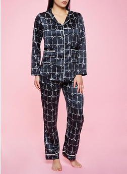 Windowpane Plaid Pajama Top and Pants Set - 1154035162023