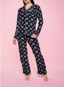 Printed Fleece Pajama Top and Pants Set - 1154035162033