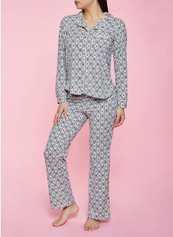 Printed Button Front Pajama Top and Pants Set - 1154035162034