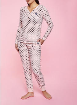 Polka Dot Thermal Pajama Top and Pants Set - 1154035162430
