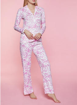 Floral Collared Pajama Top and Pants Set - 1154052311505