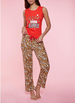Wild About Sleepovers Pajama Tank Top and Pants Set - 1154052311709