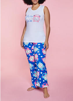 Plus Size Clock Graphic Pajama Top and Pants - 1154052311712