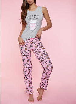 All I Care About is Coffee Pajama Tank Top and Fleece Pants - 1154052312716