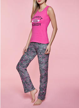 Property of Nobody Pajama Tank Top and Pants Set - 1154052312717