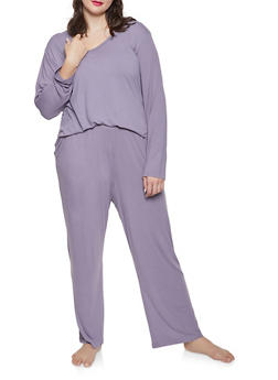 Plus Size Soft Knit Pajama Top and Bottom Set - 1154068060084