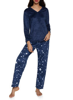 Fleece Pajama Top and Bottom Set - 1154068062806