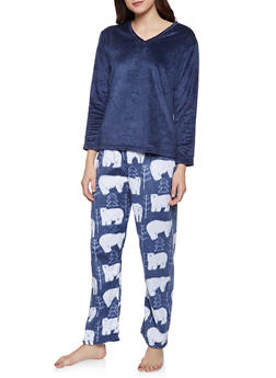 Fleece Pajama Top and Polar Bear Print Bottom Set - 1154068062811