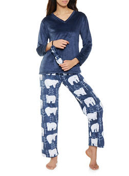 Fleece Pajama Top and Bottom Set with Sleep Mask - 1154068062811