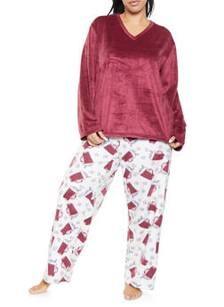Plus Size Fleece Pajama Top and Bottom Set - 1154068062813