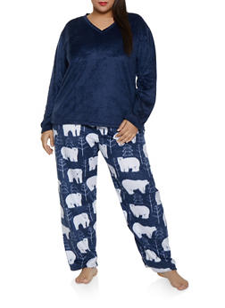 Plus Size Polar Bear Pajama Top and Bottom Set - 1154068062814