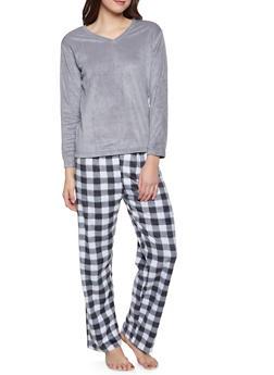 Fleece Pajama Top and Bottom Set - 1154068062856