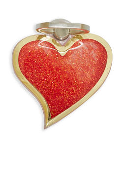Glitter Heart Phone Ring Stand - Red - 1163066415100