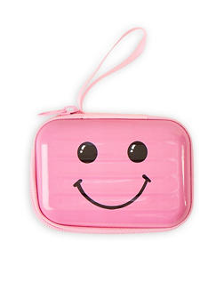 Pink Smiley Face Zip Card Wallet - 1163067440014
