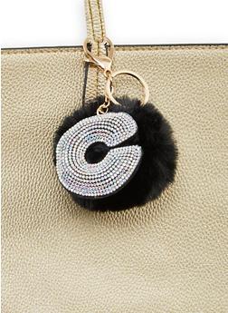 Rhinestone C Pom Pom Keychain - 1163067440021