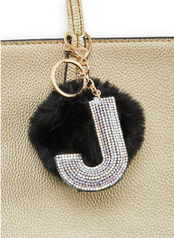 Rhinestone J Pom Pom Keychain - 1163067440022