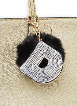 Rhinestone D Pom Pom Keychain - 1163067440028