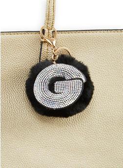 Rhinestone G Pom Pom Keychain - 1163067440030