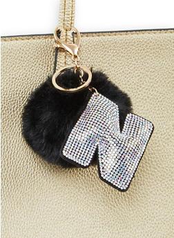 Rhinestone N Pom Pom Keychain - 1163067440032