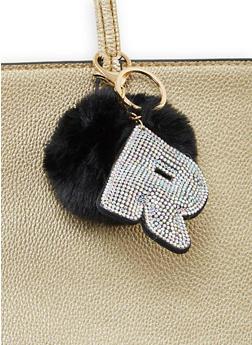 Rhinestone R Pom Pom Keychain - 1163067440033