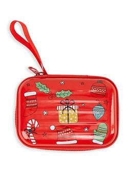 Christmas Print Zip Card Wallet - 1163067442556