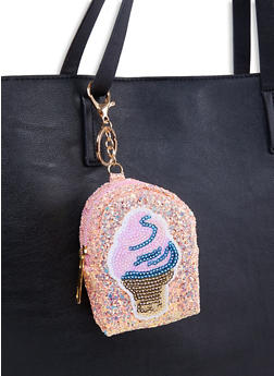 Ice Cream Glitter Backpack Keychain - 1163067445522
