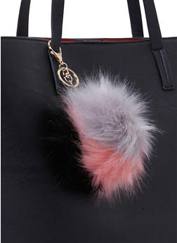 Color Block Faux Fur Pom Pom Charm - GRAY/BLACK - 1163067446032