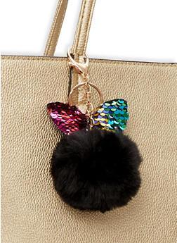 Reversible Sequin Bunny Ear Pom Pom Keychain - BLACK - 1163067448013