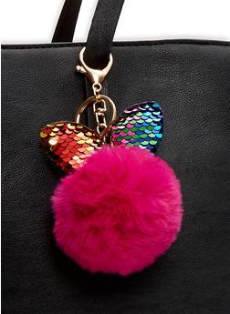 Reversible Sequin Bunny Ear Pom Pom Keychain - FUCHSIA - 1163067448013