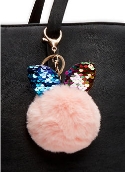 Reversible Sequin Bunny Ear Pom Pom Keychain - BLUSH - 1163067448013