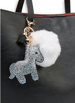 Rhinestone Unicorn Pom Pom Keychain - 1163067448109