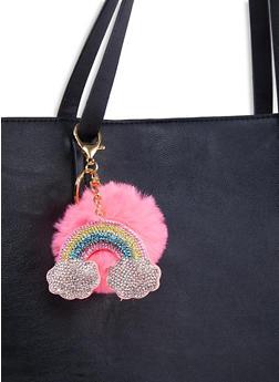 Rhinestone Rainbow Pom Pom Keychain - 1163067449002