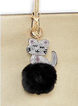 Rhinestone Cat Pom Pom Keychain - 1163067449014