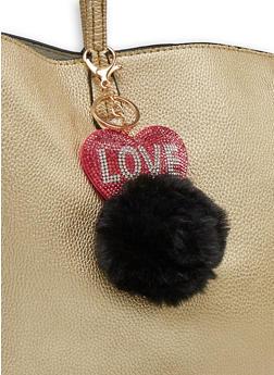 Rhinestone Love Pom Pom Keychain - 1163067449017