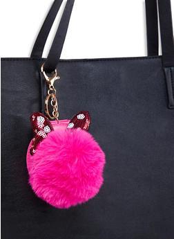 Faux Fur Pom Pom Compact Keychain - 1163067449100