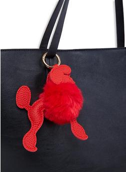 Poodle Pom Pom Keychain - RED - 1163067449444
