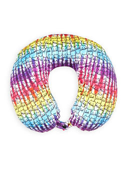 Tie Dye Cat Print Memory Foam Travel Pillow - 1163073391003