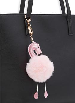 Flamingo Pom Pom Key Chain - PINK - 1163074391666