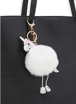 Unicorn Pom Pom Key Chain - WHITE - 1163074391667