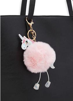 Unicorn Pom Pom Key Chain - PINK - 1163074391667