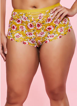 Plus Size Floral Pattern Lace Boyshort Panty - 1168035160795