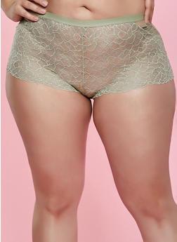 Plus Size Floral Lace Mesh Detail Boyshort Panty - 1168035161805