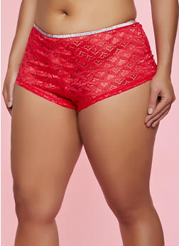 Plus Size Lurex Trim Heart Lace Boyshort Panty - 1168064872200