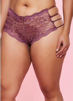 Plus Size Caged Side Boyshort Panty - 1168068064993