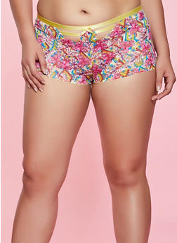 Plus Size Caged Front Printed Boyshort Panty - 1168068065791