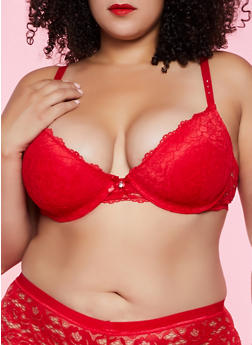 Plus Size Studded Strap Lace Bra - 1169035160777