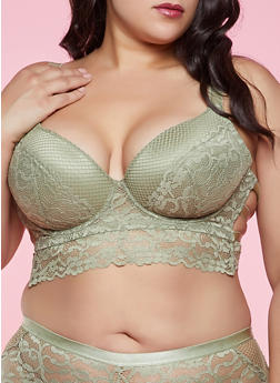 Plus Size Caged Back Fishnet Longline Bra - 1169035161809
