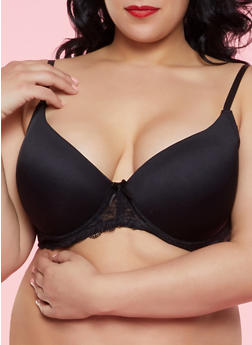Plus Size Lace Band Plunge Bra | Black - 1169064878827