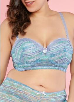 Plus Size Printed Lace Long Line Bra - 1169064878847
